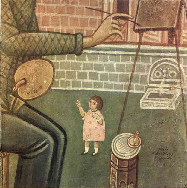Λεπτομέρεια από την οικογένεια του ζωγράφου, με τη Δεσπούλα να συμμετέχει στο έργο του Φωτίου.