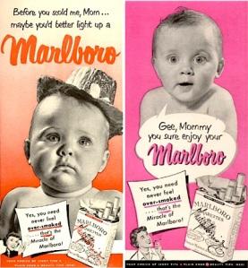 «Πριν με μαλώσεις μαμά, ίσως θα ήταν καλύτερα να άναβες ένα τσιγαράκι Marlboro». Ακόμη και τα παιδιά χρησιμοποιήθηκαν για να πεισθούν οι γονείς ότι το τσιγάρο βοηθάει στην ανατροφή τους...