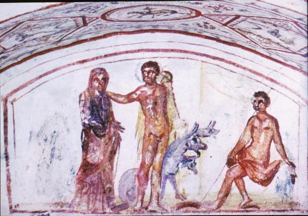 Η Άλκηστη, ο Ηρακλής και ο κέρβερος. Νωπογραφία από την κατακόμβη της Via Latina, στη Ρώμη (4ος αιώνας μ.Χ.). Το θέμα με την ανάσταση της νεκρής μαγνήτισε το ενδιαφέρον των χριστιανών καλλιτεχνών ως προεικόνιση της νίκης του θανάτου από τον Ιησού.