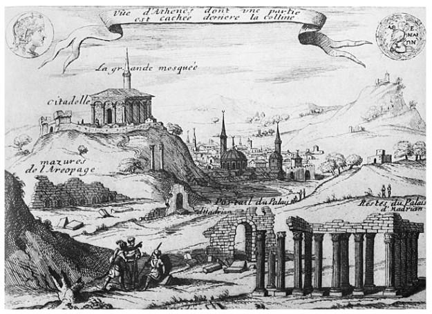 Σχέδιο της Αθήνας από τον π. Babin πριν τον βομβαρδισμό του Παρθενώνα από τον Μοροζίνι. Ο Ιησουΐτης πατέρας Ιάκωβος Παύλος Babin έζησε τον 17ο αιώνα στην Εύβοια και ήταν από τους πρωτοπόρους που μελέτησαν τα αρχαία μνημεία της Αττικής. Τα κείμενά του δημοσιεύθηκαν το 1674 και 1675 από τον Ιάκωβο Spon.
