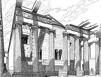 Ο Παρθενώνας ως χριστιανικός ναός. (Σχέδιο του Μανόλη Κορρέ. Πηγή: http://www.ekt.gr/parthenonfrieze/introduction/history.jsp?w=1680)